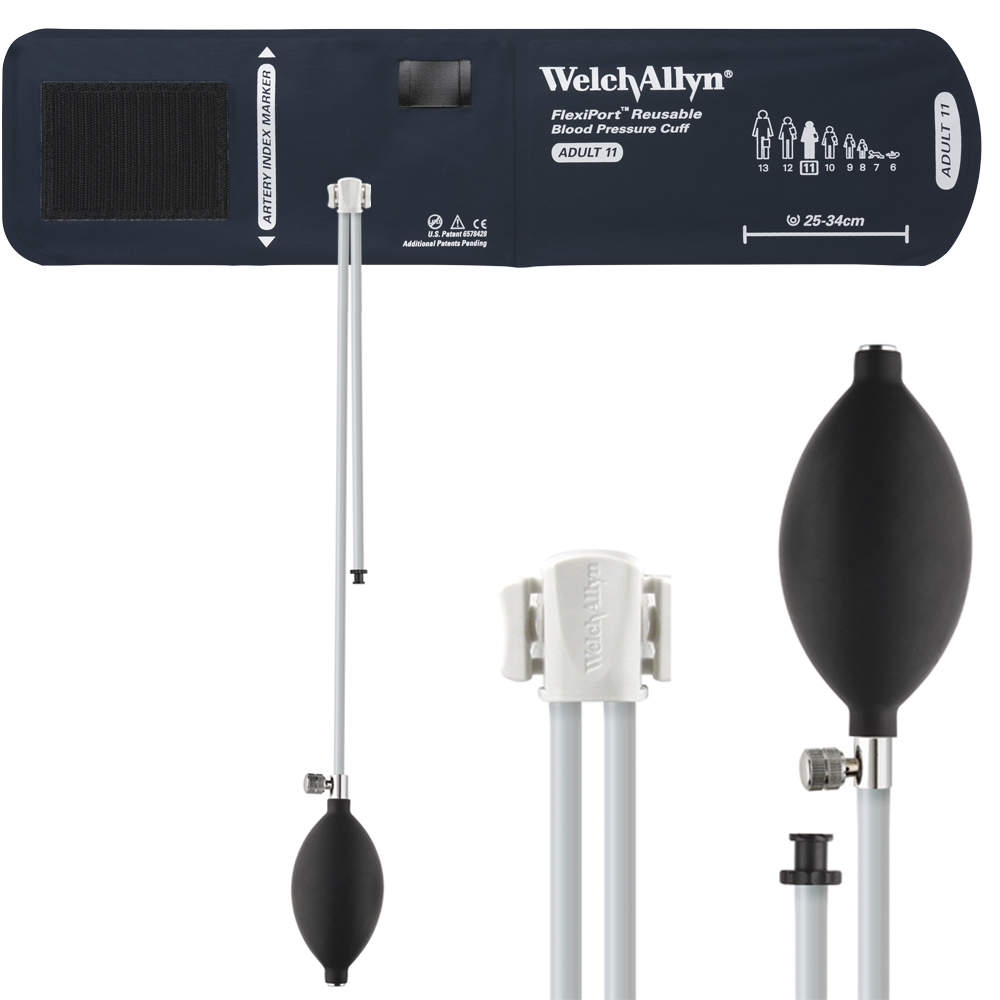 REUSE-11-2BV: Welch Allyn FlexiPort Blood Pressure Cuff; Size-11 Adult, Reusable, 2-Tubes (8.0 and 13.0 in/20.3 and 33.0 cm), Tri-Purpose (#5082-168) Connector and Inflation Bulb and Valve