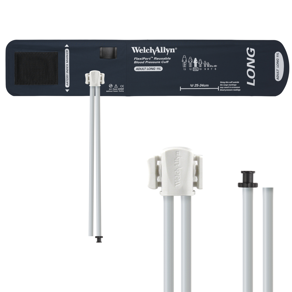 REUSE-11L-2TP: Welch Allyn FlexiPort Blood Pressure Cuff; Size-11L Adult Long, Reusable, 2-Tubes (8.0 and 13.0 in/20.3 and 33.0 cm), Tri-Purpose (# 5082-168) Connectors