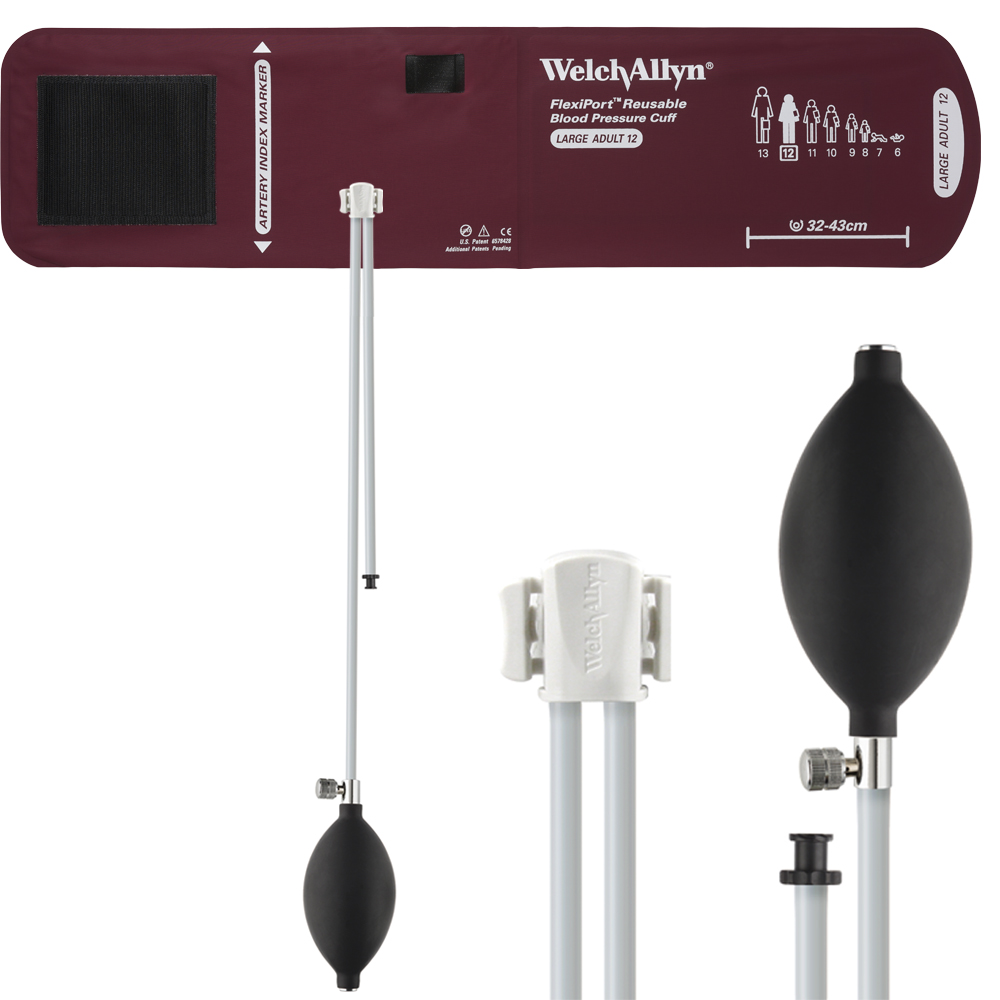 REUSE-12-2BV: Welch Allyn FlexiPort Blood Pressure Cuff; Size-12 Large Adult, Reusable, 2-Tubes (8.0 and 13.0 in/20.3 and 33.0 cm), Tri-Purpose (# 5082-168) Connector and Inflation Bulb and Valve