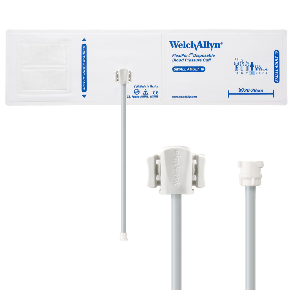 SOFT-10-1MQ: Welch Allyn FlexiPort Blood Pressure Cuff; Size-10 Small Adult, Soft Disposable, 1-Tube, Female Locking (#5082-182) Connector; Qty. 20