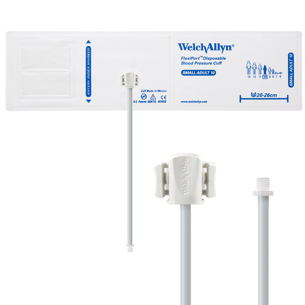 SOFT-10-1SC: Welch Allyn FlexiPort Blood Pressure Cuff; Size-10 Small Adult, Soft Disposable, 1-Tube, Male Screw (#5082-164) Connector; Qty. 20