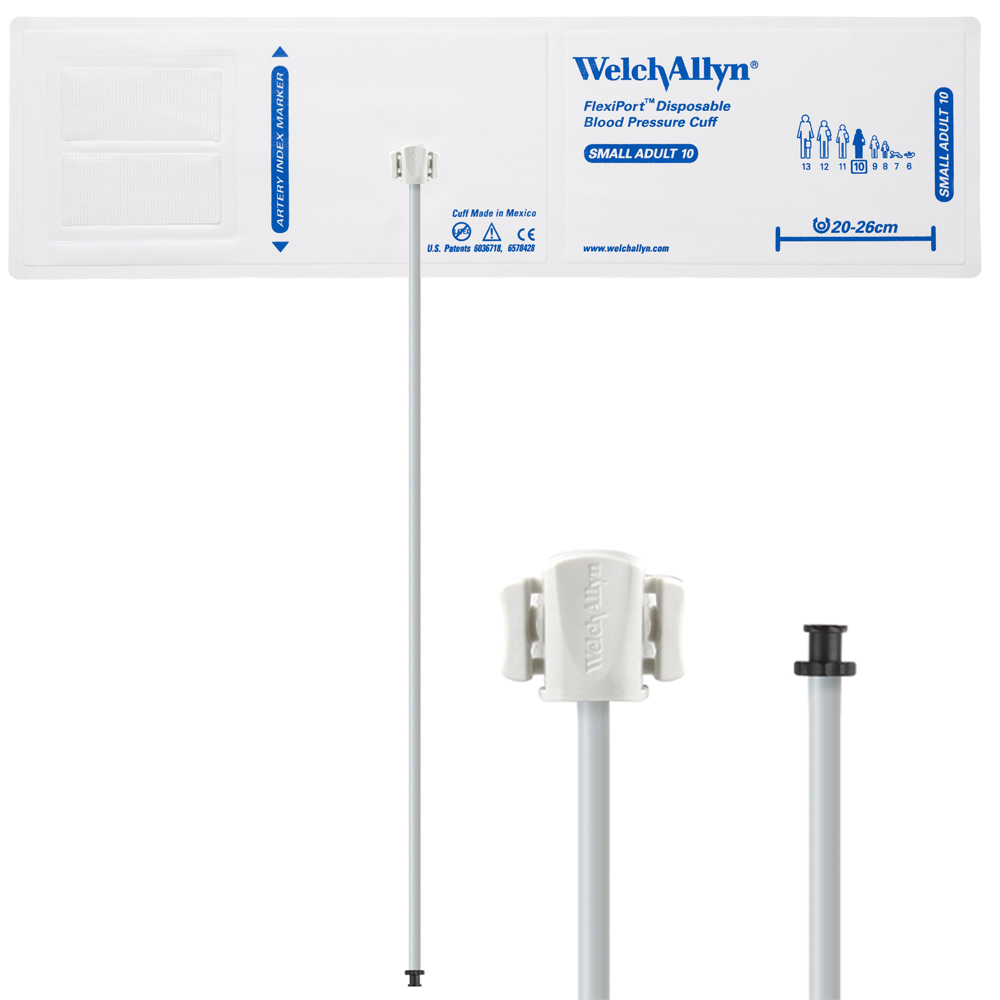 SOFT-10-1TP: Welch Allyn FlexiPort Blood Pressure Cuff; Size-10 Small Adult, Soft Disposable, 1-Tube, Tri-Purpose (#5082-168) Connector; Qty. 20