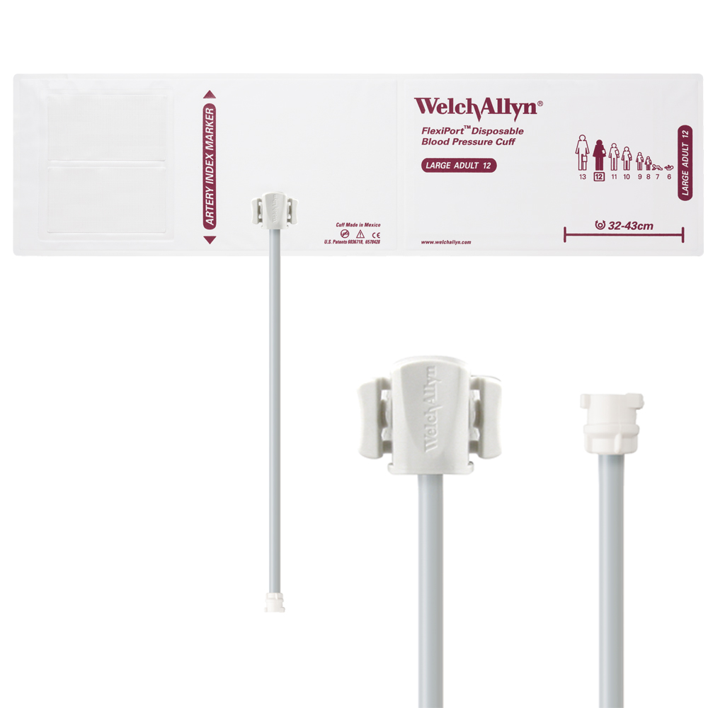 SOFT-12-1MQ: Welch Allyn FlexiPort Blood Pressure Cuff; Size-12 Large Adult, Soft Disposable, 1-Tube, Female Locking (#5082-182) Connector; Qty. 20