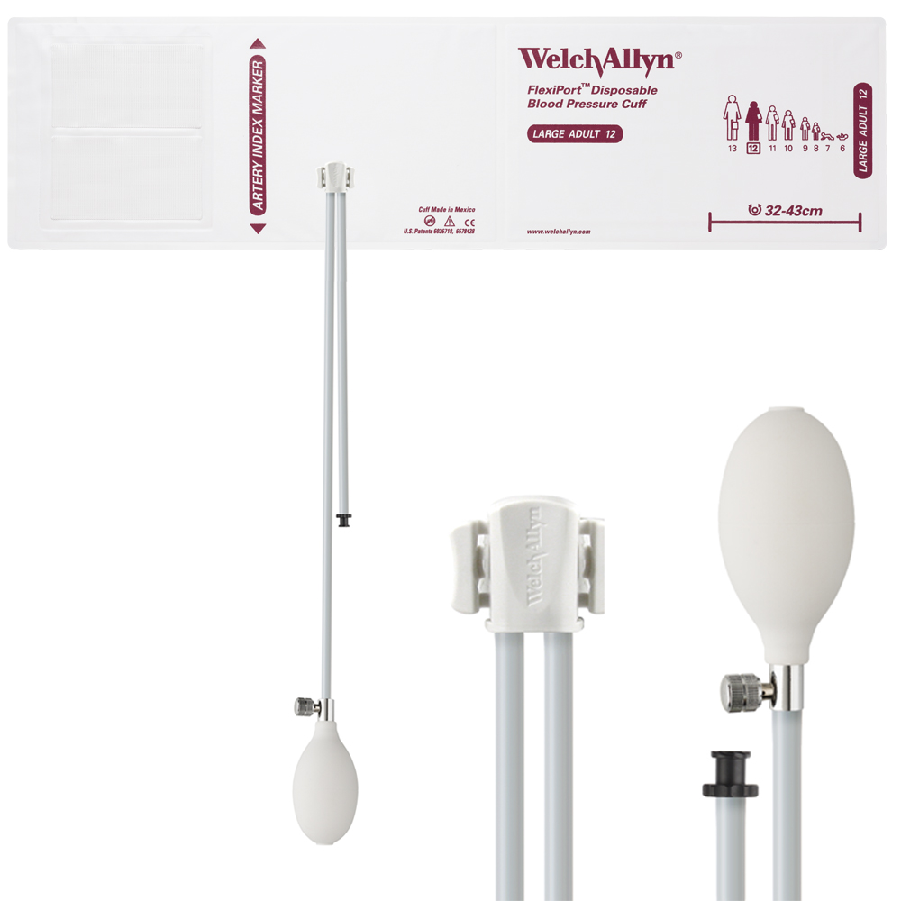 SOFT-12-2BV: Welch Allyn FlexiPort Blood Pressure Cuff; Size-12 Large Adult, Soft Disposable, 2-Tubes (8.0 and 13.0 in/20.3 and 33.0 cm), Tri-Purpose (#5082-168) Connector and Inflation Bulb and Valve; with Inflation Bulb and Valve; Qty. 20