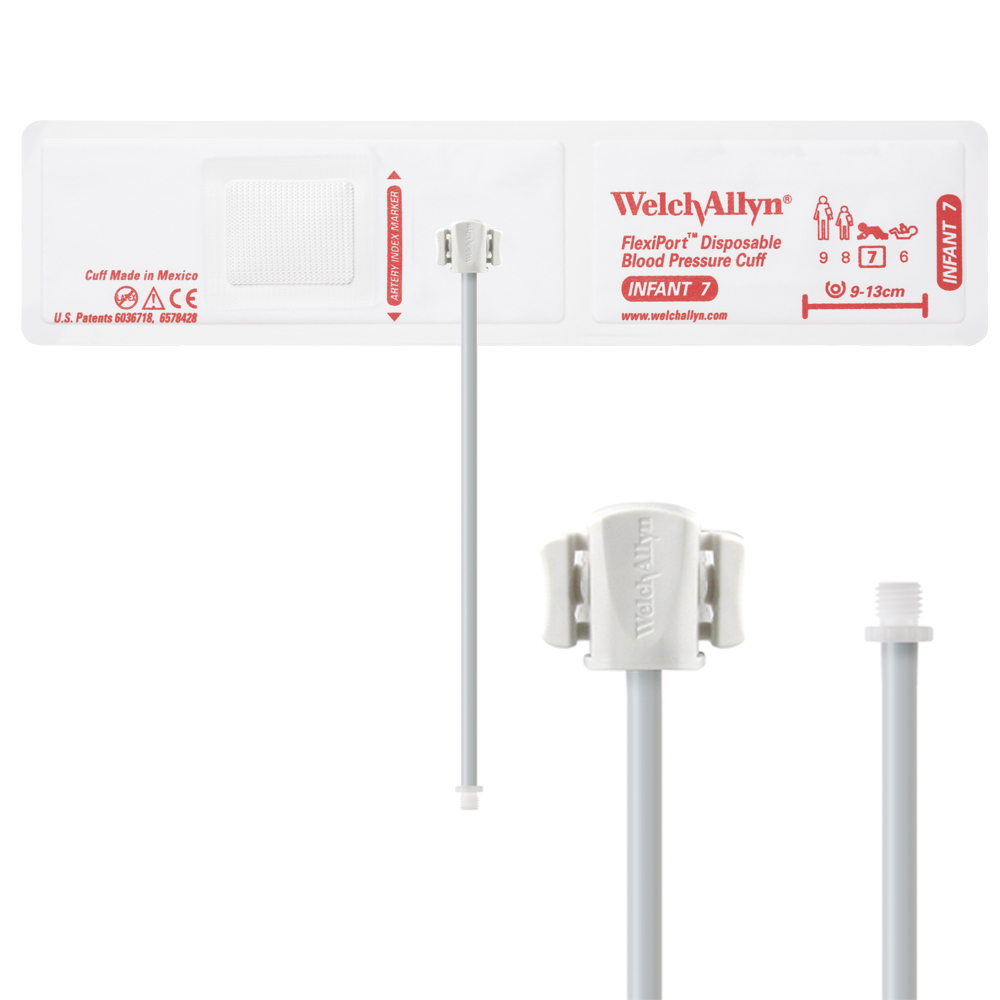 VINYL-07-1SC: Welch Allyn FlexiPort Blood Pressure Cuff; Size-07 Infant, Vinyl Disposable, 1-Tube, Male Screw (#5082-164) Connector; Qty. 20
