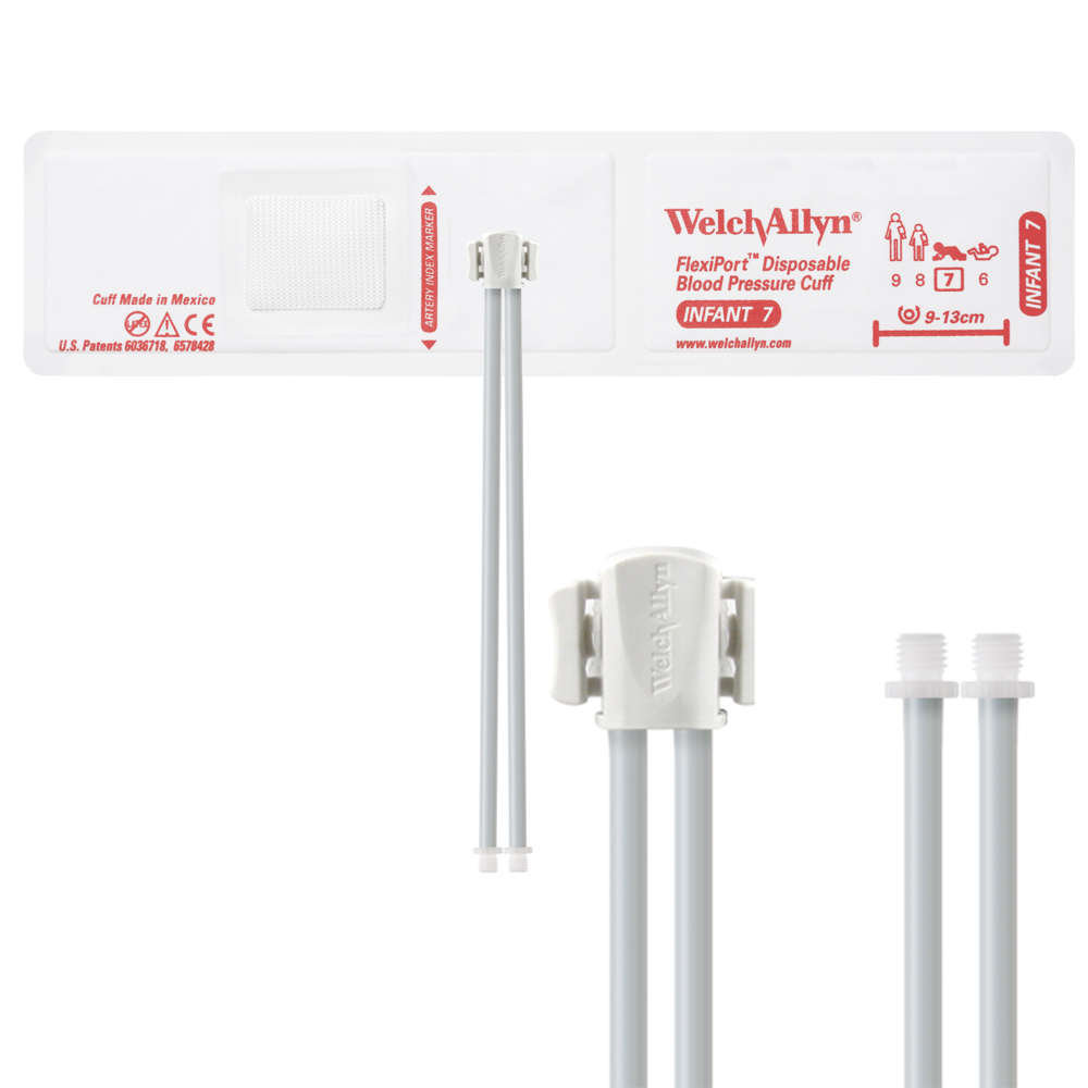 VINYL-07-2SC: Welch Allyn FlexiPort Blood Pressure Cuff; Size-07 Infant, Vinyl Disposable, 2-Tubes, Male Screw (#5082-164) Connectors; Qty. 20