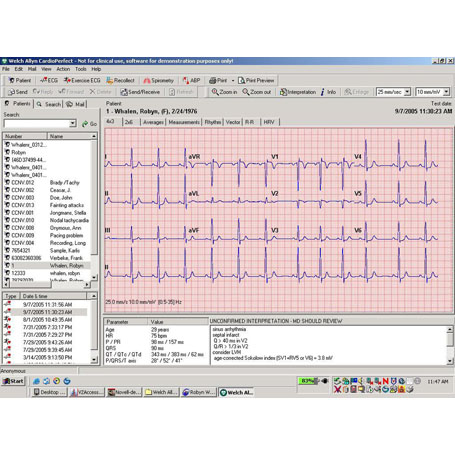 CardioPerfect Workstation Screen