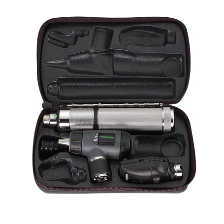 97100-M: Diagnostic Set with MacroView, Coaxial Ophth, NiCad Handle and Hard Case
