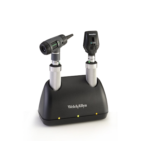 71641-M: Universal Charger Desk Set with MacroView Otoscope, Coaxial Ophthalmoscope, NiCad handles